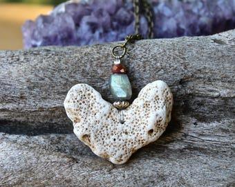 Coral Heart Necklace w/ Labradorite - Natural Coral Jewelry - Mermaid Jewelry - Beach Jewelry - Organic Necklace - Hippie Jewelry Boho Chic