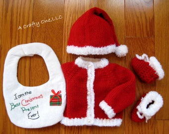 Baby Santa Outfit, Santa Outfit Newborn, 1-3 Month, First Christmas Outfit, Baby Christmas Outfit, Baby Santa Hat Sweater Bib Booties Gift