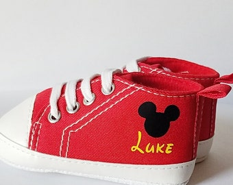 Mickey Mouse Personalized Baby Shoes Sizes 3-18 Months With Name Red Yellow Black High Top Canvas Sneakers