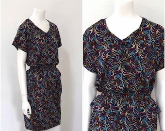 Missoni Knit Dress/ Designer Tee Shirt Dress w Pemplum/ 80s Italian Dress/ Womens Size Medium