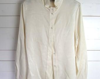 1980s Vintage Elsie Whiteley Cream Formal Blouse