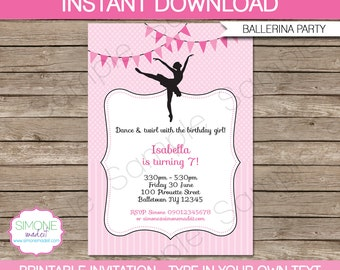 Ballerina Invitation Template - Birthday Party - INSTANT DOWNLOAD with EDITABLE text - you personalize at home