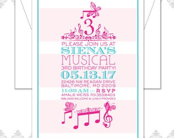 Music Party Invite, Third Birthday Invite, Musical Party Invite, Music Notes Invite, Modern Music Children's Party Invitation