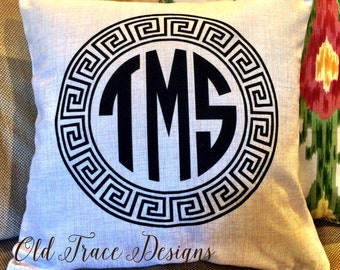 Monogram Greek Key Border Personalized Linen Blend Pillow Cover One or Three Initial Letters