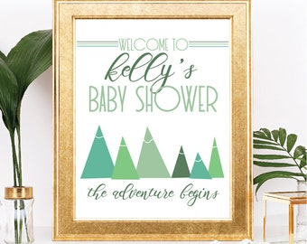 Mountain Baby Shower Sign - Printable Sign in Shades of Green - Customizable Text - The Adventure Begins Theme - Digital Download