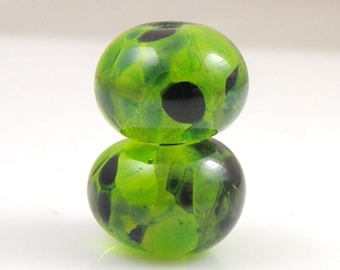 Emerald Waters Earring Pair SRA Lampwork Handmade Artisan Glass Donut/Round Beads Made to Order Pair of 2 8x12mm