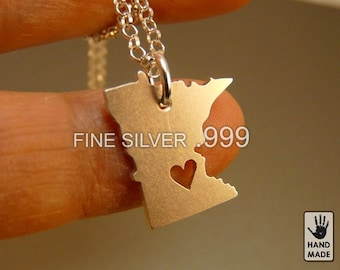 Minnesota State Map Handmade Personalized Fine Silver .999 Necklace in a gift box
