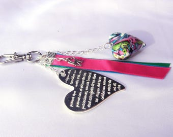 """Key / jewelry small heart in the colors of the """"Turquoise with coral highlights"""" mokumegane"""
