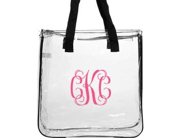 Monogrammed Clear Stadium Tote Purse Bag  Clear tote See through bag See through purse clear purse personalized clear bag
