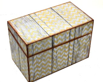 Recipe Box Barn Wood with Yellow Chevron Ready To Ship Fits 4x6 Recipe Cards