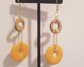 Yellow and Gold  Earrings