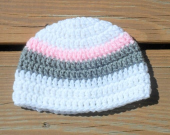 Striped Girly Hat, Baby Girl Hat, Infant Crochet Item, Etsy Baby Hats, Kids Hat, Toddler Girl, Baby Stuff, Girls Beanie Hat, Pretty Girl Hat