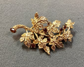 Large Leafy Branch Goldtone Brooch with Rhinestones.  Very Pretty.  Free shipping