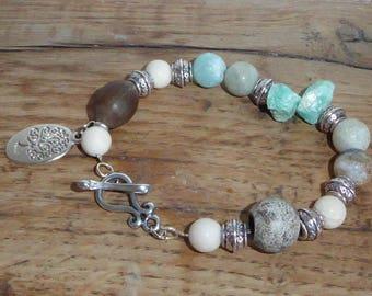 Bracelet made of natural raw stones amazonites and fossil stones, nature bracelet, Bohemian bracelet