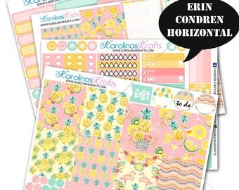 Summer Pineapple KIT Tropical Summer Planner Kit stickers 200+ Planner Stickers, Erin Condren Horizontal Planner Sticker #SQ00607-ECH