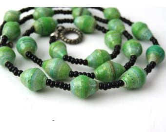 Green Necklace   Green Paper Bead Necklace   Statement Necklace   Sterling Silver   Eco Jewelry Necklace   Collar Necklace   Gift Necklace