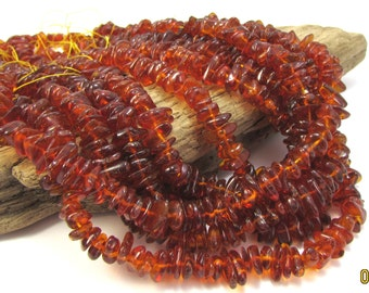 "Baltic Amber Beads, Dark Amber Chips, 16"" inch Strand, Amber Beads, Beading Supplies, Jewelry Supplies, Item 1273gss"