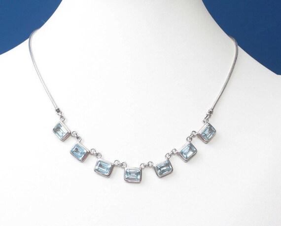 Blue Topaz Sterling Silver Necklace Art Deco Style Choker Length