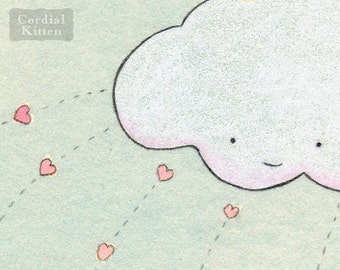 Clouds Throwing Hearts Digital Giclee Print