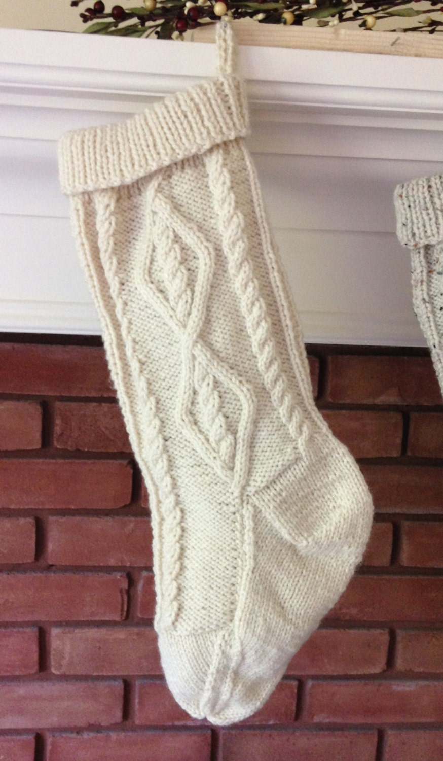 Cable Knit Stocking Pattern, Fisherman Knit Christmas Stocking ...