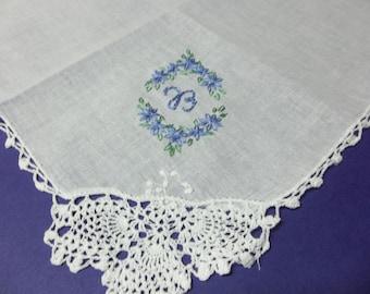 Oval Something blue wedding handkerchief, monogram, hand embroidered, bouquet wrap, hankerchief,wedding