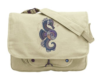 Mechanica Aquatica - Seahorse Embroidered Canvas Messenger Bag