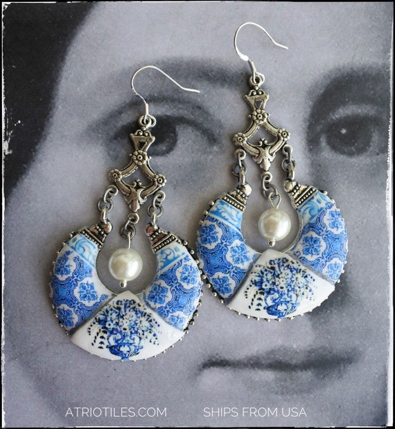 Earrings Tile Portugal Blue Stainless Chandelier OVAR - 925 Silver Ear Wire ROMANTIC (see photo of actual Facade) Gift Box Included