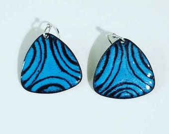Torch fired copper enameled drop earrings, black and turquoise enamel