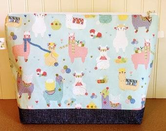 Llamas Knitting Scarves Knitting Project Bag - Large / Sweater Size