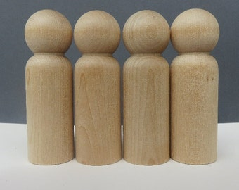 CUSTOM - UNFINISHED Wooden Peg Dolls - DIY Kit