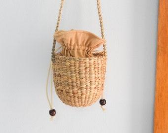 Tiny Straw bag • seagrass crossbody bag • weaving boho bag with knitting straw strap • handmade bag • Cylinder bag