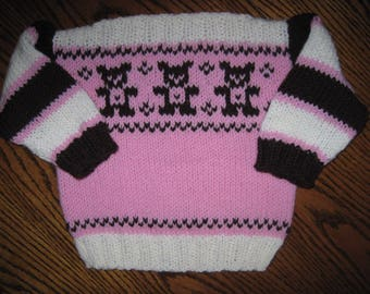 Hand Knit Pullover Sweater Baby Size 12 - 18  Mths Teddy Bear Design Free US Shipping