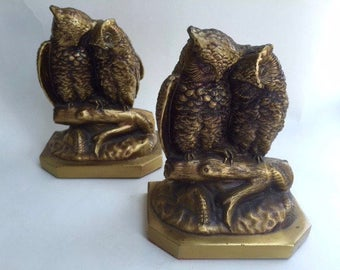 Pair of Adorable Metal Owl Couple Bookends