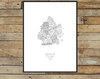 "Hand drawn Brooklyn Neighborhood Map - original silkscreen print (18""x24"" White with Black ink)"