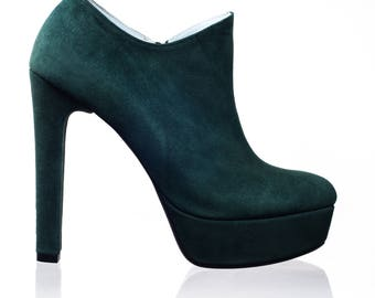 Suede Forest Green High Heels Ankle Boots