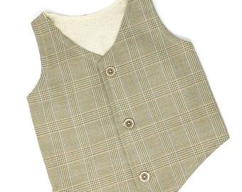 Boys Vest, Toddler Vest, Boys Tan Vest, Toddler Tan Vest, Boys Plaid Vest, Infant Vest, Ring Bearer Outfit, Boyish Charm, Photo Prop