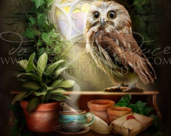 Owl of Loyalty /  Potter Gift Art / Badger /Nerd Gifts / Nerdy / Wizard / Witch / Magic / Loyal / Magical / Wizardry