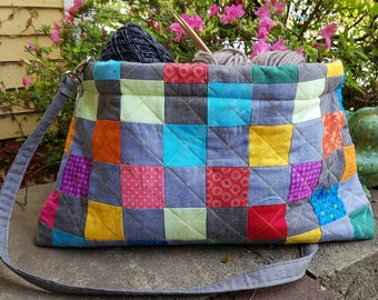 Scrappy Quilted  Craft Tote Bag with Flex Frame, Project Tote Bag,  Quilted Tote Bag, Knitting Tote Bag