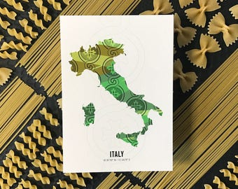 Italy Map Travel Poster