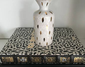 Vintage Italian White Ceramic Flower Vase with Hand Painted Gold Drops