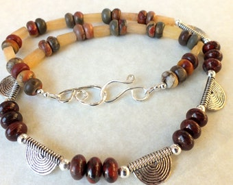 Tribal Jasper and Butterscotch Quartz Necklace and Earrings