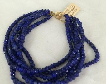 Natural Lapis Lazuly Bracelet with 14 k clasp