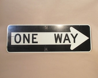 One Way Sign - Authentic Two Sided - 1970's Vintage Signage
