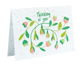 Seeded paper greeting card - Thinking of you