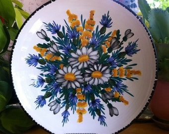 Vintage Italian Ceramic Serving Platter - Blue and Gold Flowers