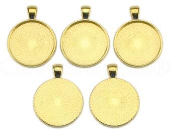 "10 - 1"" Pendant Trays - Gold - 25mm Round Pendant Settings - Vintage Antique Style Pendant Blanks Bezel 25 mm 1"" Diameter"