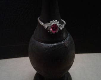 Sterling Silver Ring with Clear and Pink Gemstones
