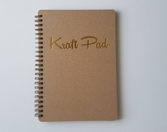 Kraft paper A5 notebook / sketchbook Kraft Pad with gold foil embossing / blank sheets