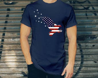USA Flag T-shirt for Men - Patriotic Eagle Tee - Freedom Tee - Independance Day T-shirt - Memorial Day T-shirt - Born FREE T-shirt