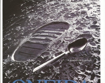 1995 Advertisement Oneida Radius Pattern Spoon Moon Walk Surface Craters Outer Space Silver Collector Silverplate Wall Art Decor